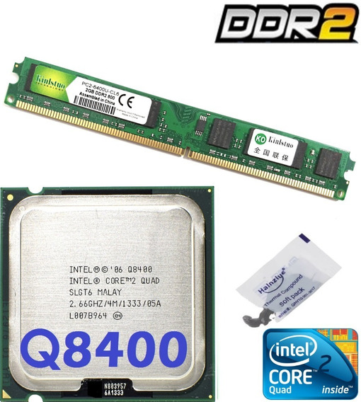 Kit Cpu Core 2 Quad Q8400 2,66ghz + Memória 2gb Ddr2 800mhz