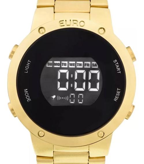 Relógio Feminino Euro Dourado Ouro 18k Digital Original