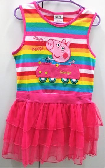 Vestido Casual Diseño Bordado Peppa Pig