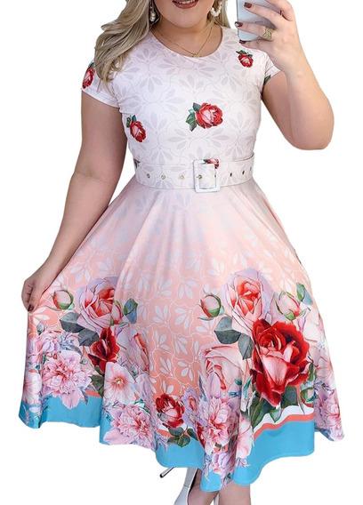 Vestido Godê Princesa Moda Evangélica Boneca Feminino Midi