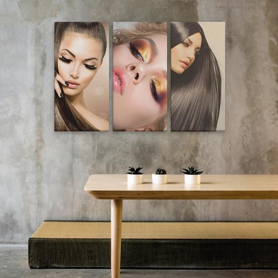 Conjunto Quadros Decorativos Para Salão De Beleza 94x60cm