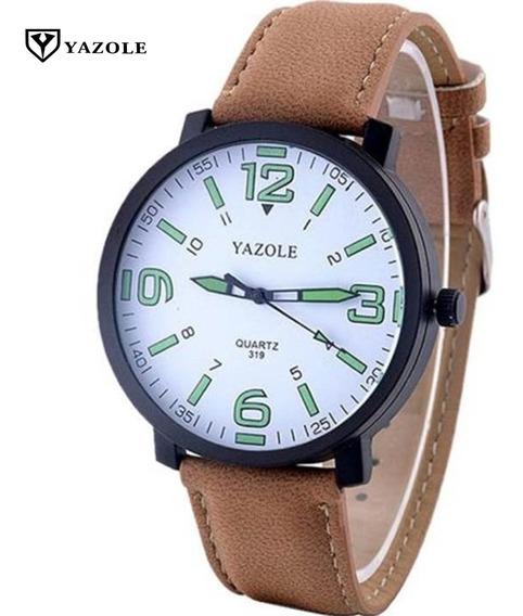 Relógio Social Moderno Original Yazole Masculino Pulseira De Couro Marrom Frete Grátis