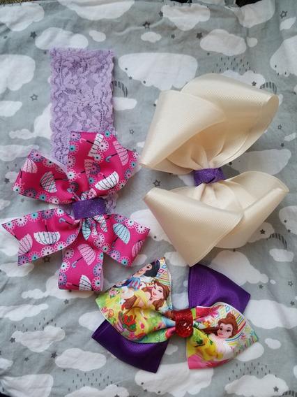 Paquete Accesorios Moños Y Banditas Cabello Bebé Princesas