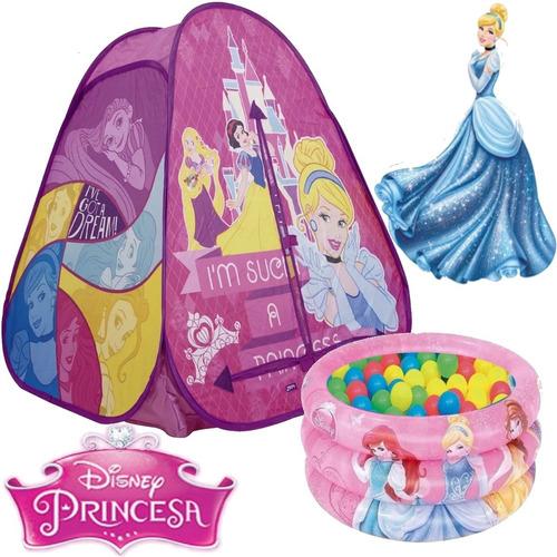 Imagem 1 de 7 de Barraca Toca Com Bolinhas Princesa Rosa + Piscina 38 Litros