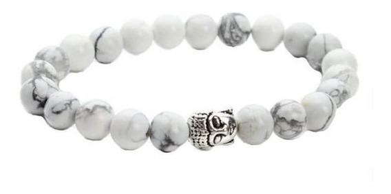 Pulseira Masculina Pedra Turmalina Branca Com Buda Prata