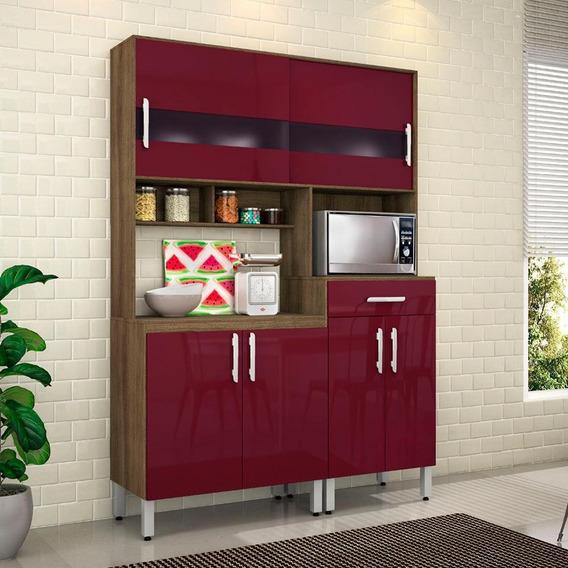 Armário De Cozinha Bianca 6 Portas 1 Gav Terraro/fucsia