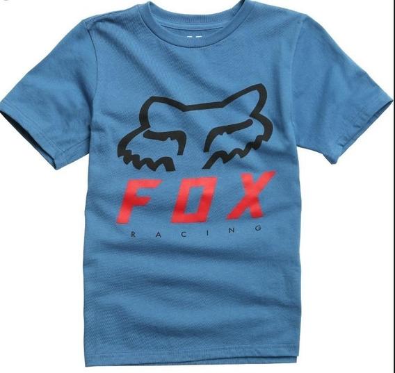 Remera Niño Fox Heritage Forger Celeste Motocross Atv Juri