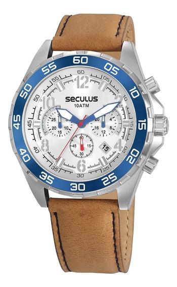 Relógio Seculus Masculino 20794g0svnc3 - Prata E Marrom
