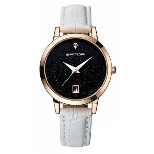 Relógio Feminino Sanda P194 Pulseira Couro Quartzo Branco