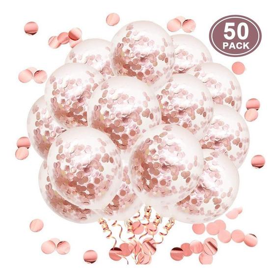 Globos Confetti Rosa 12 Pulgadas Set 50 Unidades