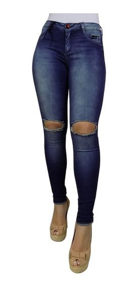 Calça Feminina Rasgada Joelho Cintura Alta Jeans Promoção 19