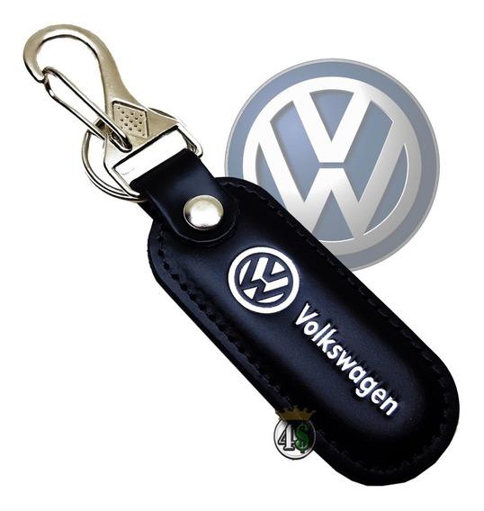 Chaveiro Carro Volkswagen Couro Mosquetão Golf Gol Up Fox
