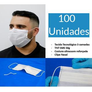 Máscara Cirúrgica Descartável Tripla Camadas 100u Clip Nasal