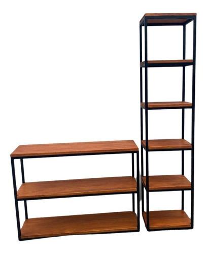 Rack Tv -mueble Living- Estanteria Biblioteca -hierro Madera