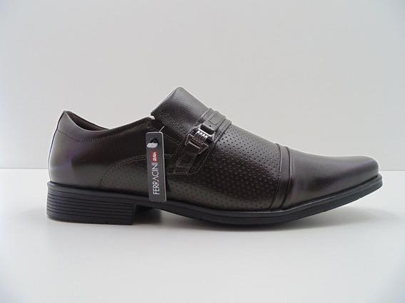 Sapato Ferracini Em Couro Confort Marrom Cafe 5480-500h