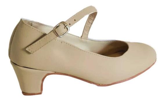 Zapatos Profesionales De Folcklore Y Español En Cuero Crema
