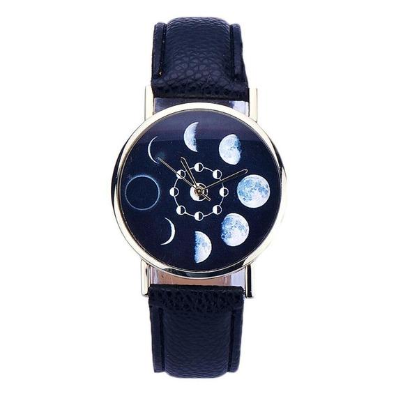 Relógio Fases Da Lua De Pulso Preto Horas Tempo Espacial