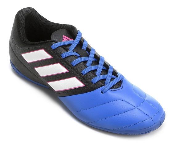 Chuteira Futsal adidas Ace 17.4 In - Preto E Azul