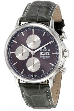 Relógio Edox Les Bemonts Cronógrafo Preto/couro Automático