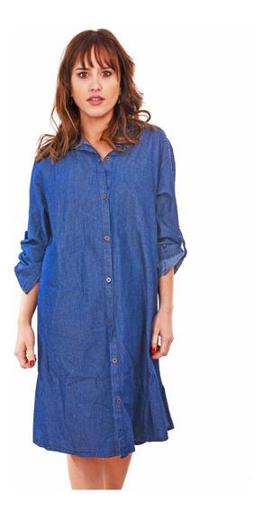 Customs Ba Camisolas Mujer Importada Largas Vestidos Azul Je