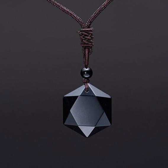 Pedra Obsidiana Negra Estrela Hexagrama - Colar De Proteção