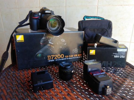 Câmera Nikon D7200 Lente 18-140mm + Lente 50mm 1.8 + 32gb