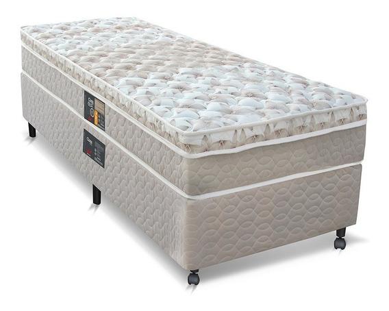 Cama Box + Colchão Castor Solteiro Molas Pocket Clas 88x188