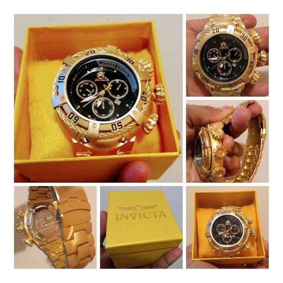 Relógio Masculino Luxo Dourado Novo