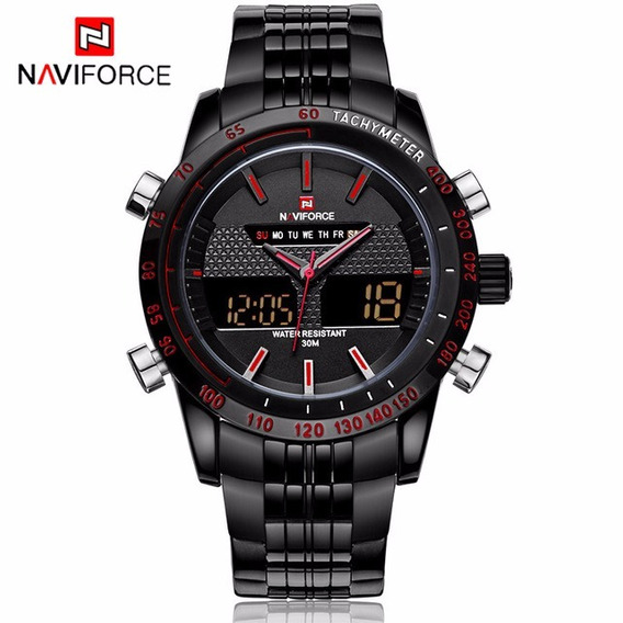 Relógio Naviforce 9024 Masculino Preto E Vermelho Executivo