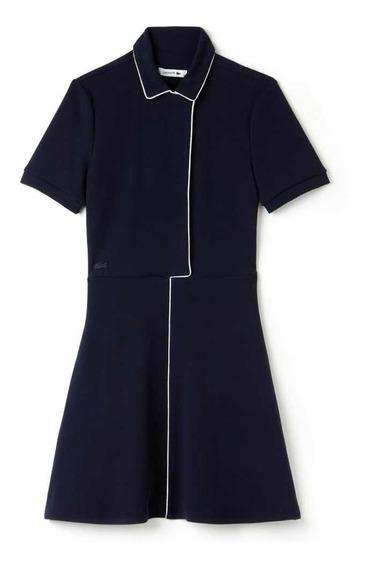 Vestido Lacoste De Dama Azul Con Cintura Ajustada Original