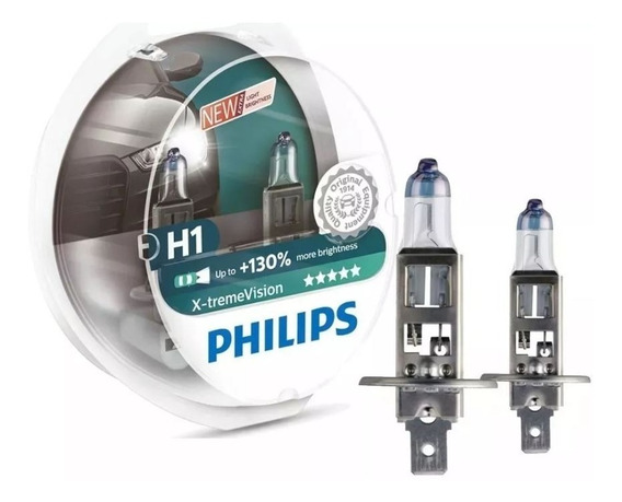 Kit Lampada Philips X-treme Vision H1 - 130% Á Mais De Luz