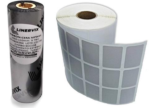 10 Rolos Etiqueta 33x22 Mm 3 Colunas + 6 Ribbons Cera 110x74