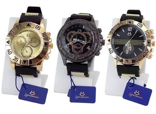 Kit 3 Relógio Masculino 100% Original Atacado Prata Dourado