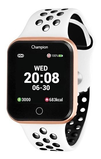 Relógio Champion Smartwatch Branco / Rose Ch50006w + Brinde