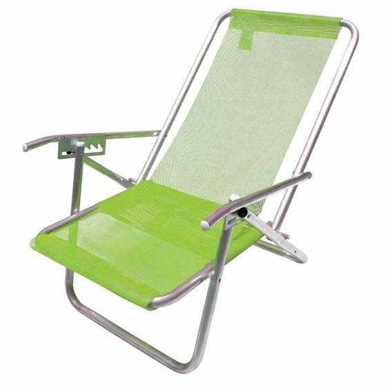 Cadeira De Praia Xl 5 Posições 130kg Verde Aluminio Sannet