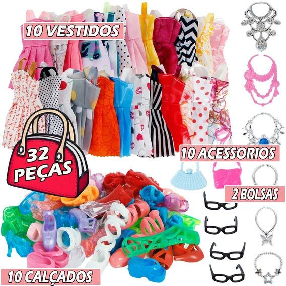 Kit Roupinha Boneca Barbie 32 Itens Vestido Oculos Colar