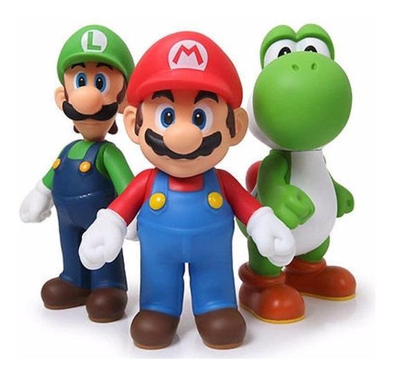 Kit 3 Boneco Super Mario Caixa Grande Bros 20cm 64