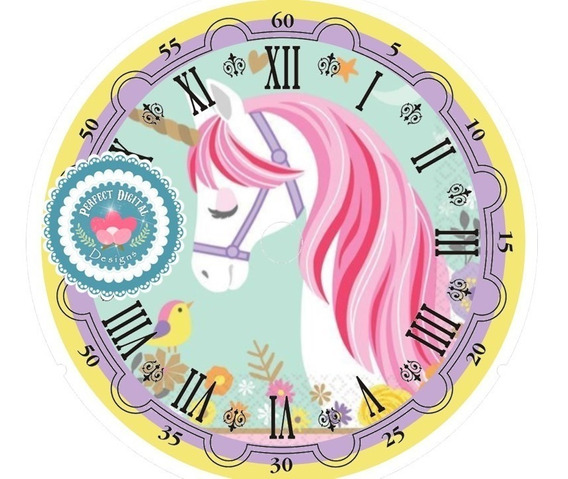 Kit Imprimible Cuadrante Reloj Unicornios Souvenirs Cumple