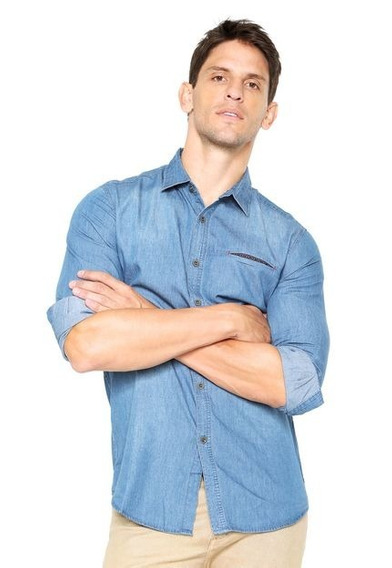 Camisa Jeans Masculina Manga Longa