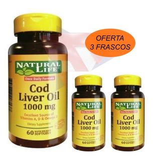 Aceite De Higado De Bacalao Natural Life Cod Liver 3 Frascos