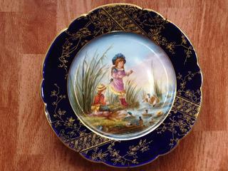 Precioso Plato En Porcelana Francesa Bleu De Sevres