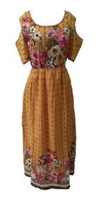 Vestido Longo Boho/indiano Rodado Com Mangas (3017)