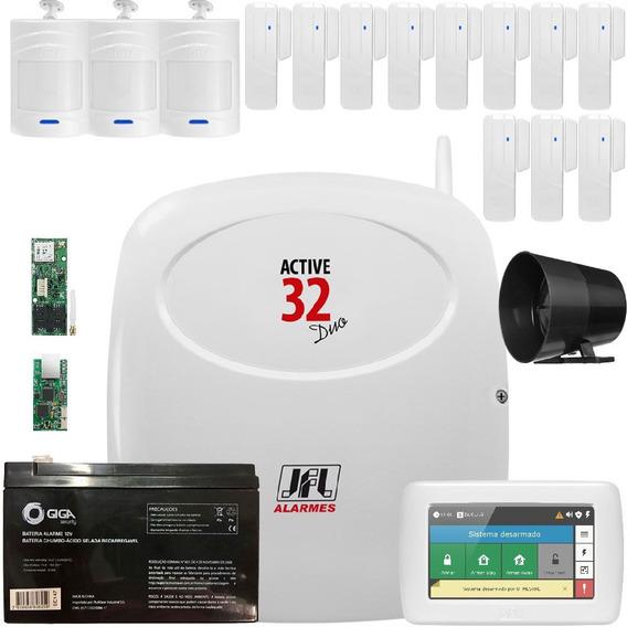 Kit Alarme Active 32 Duo Sensores E Teclado Touch Ts 400 Jfl