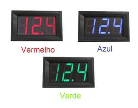 Voltímetro Digital Automotivo 3 Fios De 0-30vdc Várias Cores
