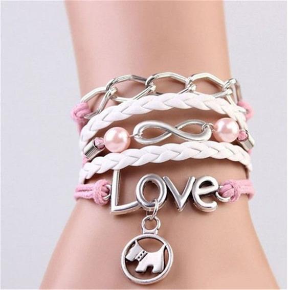 Pulseira Bracelete Berloques Cão Love Infinito Couro Rosa