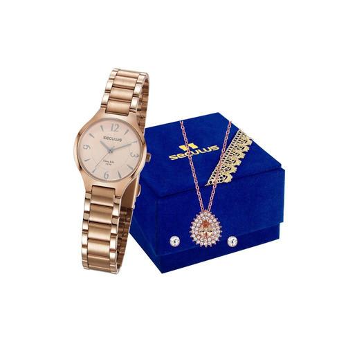 Relógio Seculus Feminino Colar Brincos 77042lpsvra1k1 E Nota