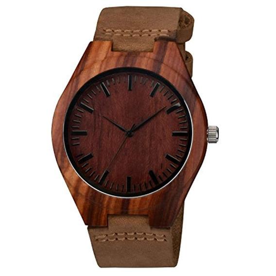 Zeiger Reloj Bamboo De Madera Con Correa