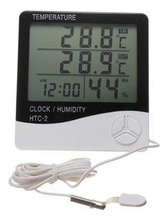 Hidrometro Medidor De Temperatura Y Humedad Reloj Digital