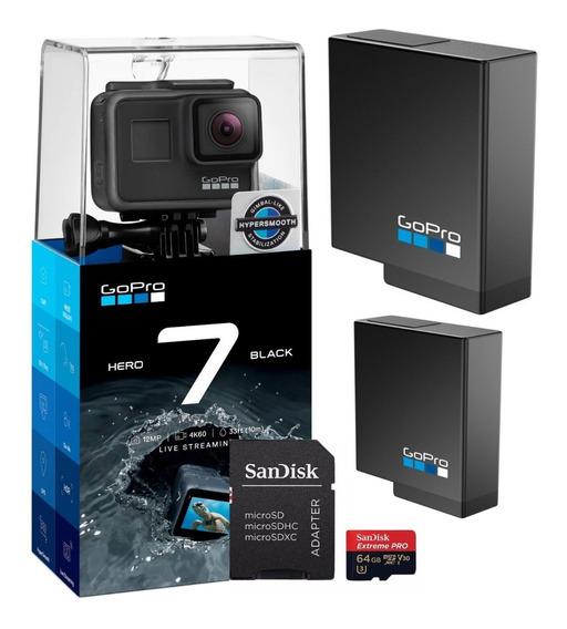 Câmera Gopro Hero7 Black +2 Baterias Gopro + Proextreme 64gb