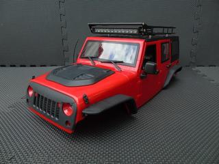 Body Carcasa Rigida Parrilla Barra Led 1/10 Axial Scx10 Jeep